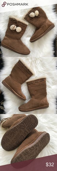 BearPaw Raina Tan Boots Size 8 BearPaw Raina boots in tan color.  Size 8.  100% genuine sheepskin & shearling lining.  They have only been worn a couple of times.  Tassels.  Knit upper section.  BearPaw chestnut winter boots. BearPaw Shoes