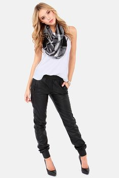 Dive Right In Cropped Black Vegan Leather Pants at LuLus.com!