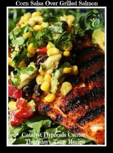 Corn Salsa over Grilled Salmon Recipe - All you need to do for this simple corn salsa over grilled salmon recipe is some light chopping and mixing. This winning combination of seasoned salmon topped with corn salsa is healthy, light, and a breeze to make. So here's to less time inside and more fun time outside. Enjoy!