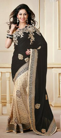 124049: BLACK & WHITE: #Lace saree just for that perfect romantic dinner date. See