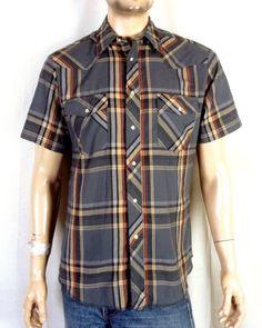 53288dcca1 vtg Wrangler euc Gray Plaid Men s SS Western Pearl Snap Shirt sz M. Stl  Vintage