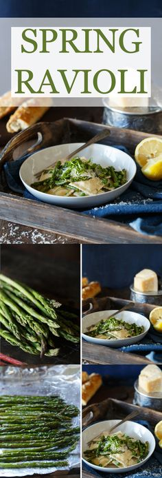 Spring Ravioli with Roasted Asparagus, Peas, and Lemon Butter - A healthy recipe that is really easy to make for dinner. The texture of the pasta and sauce together make it a dinner everyone will love.