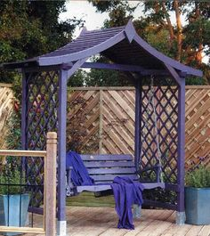 Pergola Above Garage Door Corner Pergola, Pergola Swing, Pergola Shade, Patio Seating, Garden Seating, Japanese Pergola, Purple Furniture, Yard Furniture, Garden Structures
