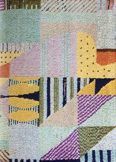 Detail of a carpet from Berlin's Bauhaus Museum. No word on artist. Love the colouration. Textile Patterns, Textile Design, Textile Art, Fabric Design, Print Patterns, Pattern Design, Weaving Textiles, Tapestry Weaving, Bauhaus Textiles