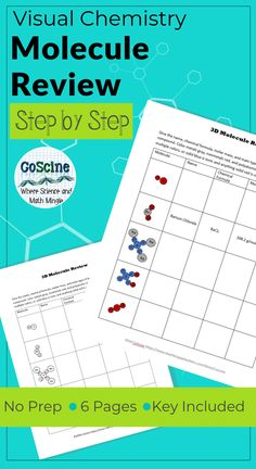 Review naming compounds, molar mass, writing formulas, and ionic bonding with this one comprehensive, fun, worksheet! Your high school chemistry students will enjoy the easy to use format of this printable. #Chemistry, #Coscine, #chemistryreview Cover Match molecule review desc 1
