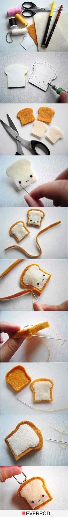 I can't even stand how cute all the little felt critters I've seen to make... this one: TOAST! How cute is that!?