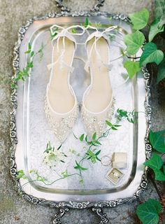 25 Castle Wedding Ideas so You Can Get Married Like a Princess - glam wedding shoes for bride {Carrie King Photographer}