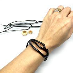 Genuine Black Coral Bangle Bracelet 2 by bLuGrnDesign on Etsy