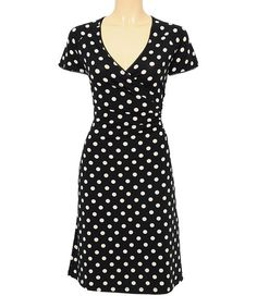 Take a look at the Louie et Lucie Black Partypolka Surplice Dress on #zulily today!