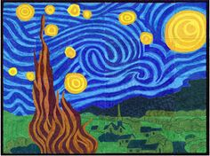 Art Projects for Kids (Starry Night - Van Gogh) Printable pdfs. The kids each color one tile then they put them all together for a giant mural