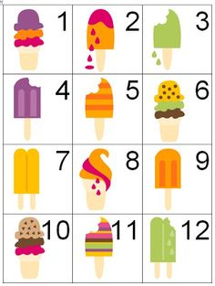 Counting Coconuts: Calendar Cards: Ice Cream