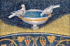 Broken simmetry. Doves drinking from a bowl. Paleo-Christian art, (5th century). Oratorio di Galla Placidia, Ravenna, Italy. See also the symbolism in the parable of two birds from the Upanishads and other traditions.