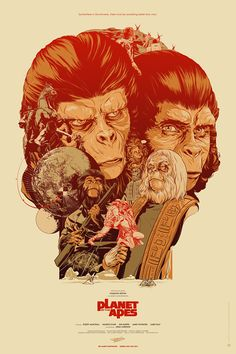 KICKASS Limited edition screenprinted poster for the original 1968 Planet of the Apes film, starring Charlton Heston and Roddy McDowall - Martin Ansin