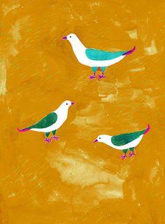 Aiko Fukawa yellow and birds painting / illlustration