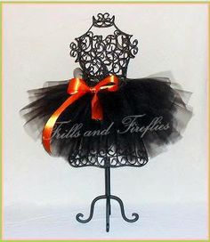Black Full and Puffy Tutu with Orange Satin Bow by Frills and Fireflies, $32.00
