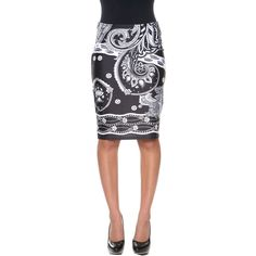 White Mark Stretchy Material Pencil Skirt - Size Small - Female -... ($26) ❤ liked on Polyvore featuring skirts, stretch pencil skirt, stretch skirts, white and black pencil skirt, pencil skirts and white and black skirt