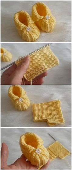 Easy to make baby booties with pearls - Stricken - . - Easy to make baby booties with pearls – Stricken – - Booties Crochet, Crochet Baby Boots, Knit Baby Booties, Knitted Baby, Knit Baby Shoes, Crochet Clothes, Baby Booties Knitting Pattern, Baby Shoes Pattern, Shoe Pattern