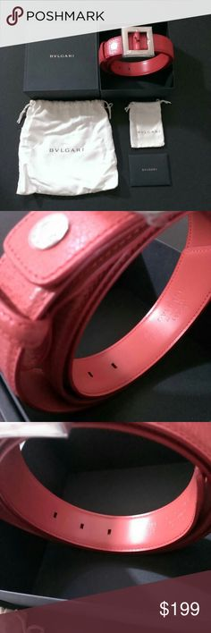 *BRAND NEW* Bvlgari Leather Belt Bvlgari Leather Belt Condition: Brand new, never been worn. Gender: Female Color: red/burgundy Size: 42 inch (1)Retail Price: $499. Bought in Italy, wife doesn't like the color so here it is. Clean and shining; no stain, no scratches, has never been worn. 100% authentic, guaranteed. (2)Comes with original box, dust bag, manufacture certificate. (3)Rare color, premium leather, luxury brand and outlet price. (4)Free Shipping. Bulgari Accessories Belts