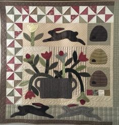 Primitive Quilts, Cookie Company, Red Wagon, Small Quilts, Applique Quilts, Wall Hangings, Folk Art, Needlework, Quilting