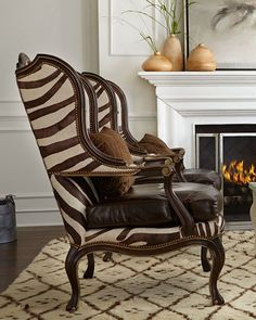Zena Hairhide U0026 Leather Wing Chair