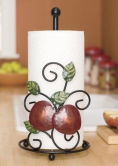 """If boring accents arent your style, youll love the decorative """"appeal"""" of our Apple Paper Towel Holder Stamped metal apples/leaves are hand-painted; Apple Kitchen Decor, Red Kitchen, Kitchen Themes, Kitchen Stuff, Pocket Knife Brands, Apple Decorations, Rooster Kitchen, Apple Theme, Happy Kitchen"""