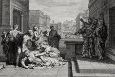 Luke in the Phillip Medhurst Collection 601 The death of Ananias Acts 5:1-10 Mortier's Bible on Flickr. A print from the Phillip Medhurst Collection of Bible illustrations, published by Revd. Philip...