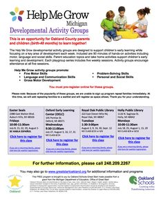 New Help Me Grow Playgroups are coming to YOU in Auburn Hills, Royal Oak, Oxford and Holly in July! Registration: http://www.greatstartoakland.org/Pages/Other-New-Events.aspx
