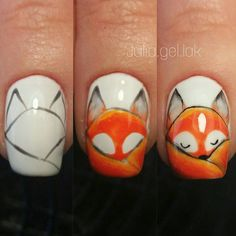 Фотография 2019 Nail Tutorial Step by step - 2020 Autumn Nails, Fall Nail Art, Nail Art Designs Videos, Nail Designs, Fox Nails, Nagellack Design, Animal Nail Art, Nails For Kids, Thanksgiving Nails