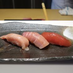 Omakase at @yasutoronto. Stand out pieces: shimaaji, unagi and tamago. Some familiar fish, but with interesting sourcing, which changes everything. Uni from Boston and uni from Vancouver is as different as beef from Japan and beef from Alberta. Hon-maguro (Bluefin tuna) from Turkey. Akami back. Chi toro cut near the skin. O toro cut from belly.