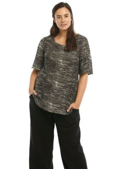 Elbow length flutter sleeve knit top with an A-line silhouette. Clean scoop neckline and straight bottom hem.
