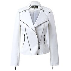 LLF Womens Faux Leather Moto Biker Short Jacket With Epaulet XSmall White *** Learn more by visiting the image link.