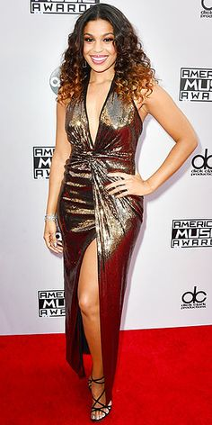 American Music Awards 2014 JORDIN SPARKS If there's a Diana Ross biopic in the works, we're guessing Jordin just shot to the top of the casting list after hitting the red carpet in this plunging bronze sequin Halston Heritage dress, worn with voluminous curls and a glossy lip. (And in fact, Sparks got to meet with her idol-slash-doppelgänger on the red carpet before the show!)