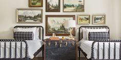 spindle, twin beds, stripes, plaid, white, trunk, gallery wall @countryliving