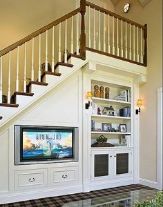 There are lots of methods to create under stair storage space. I really like the manner that this under stair storage space stipulates a desk area for those kids. Stairs Design, Home, Small Spaces, Foyer Decorating, House Design, Storage Spaces, Home Remodeling, New Homes, Living Room Under Stairs