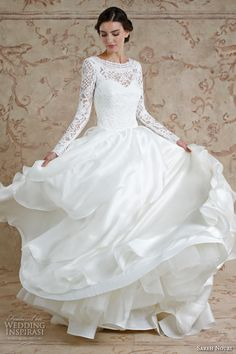 sareh nouri fall 2016 bridal beautiful cascading layers a line wedding dress long sleeves bateau neckline style mona lisa #ballgown #wedddingballgown #weddingdress