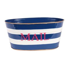 Hand-painted mail tub with navy striping.   Product: Mail tubConstruction Material: Recycled metalColor: