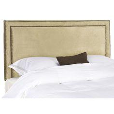 Safavieh Cory Antique Sage Upholstered Headboard - Brass Nailhead