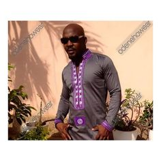 Odeneho Wear Men's Grey Polished Cotton Top And by Odenehowear