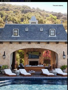 Pool Cabana - maybe Pool HOUSE is a better name? Pool Bad, Outdoor Rooms, Outdoor Living, Indoor Outdoor, Dream Pools, Pool Houses, Porches, My Dream Home, Future House