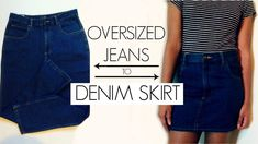 DIY Oversized Jeans to Denim Skirt. I decided Id give a shot at making a denim skirt. It took a while to figure out how exactly to go about doing it but I did all the hard work for you :) Enjoy! Diy Jeans, Diy Shorts, Jeans Denim, Long Denim Skirt Outfit, Denim Skirt Outfits, How To Make Jeans, How To Make Skirt, Diy Destroyed Jeans, Jean Diy