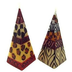 Set of Two Hand-Painted Pyramid Candles - Uzima Design Handmade and Fair Trade. This set of two wild pyramid shaped candles are hand-painted by artisans in South Africa. Living Room Candles, Romantic Candles, Fall Candles, Handmade Candles, Decorative Candles, Candle Shop, Cool Gifts, Artisan, Hand Painted