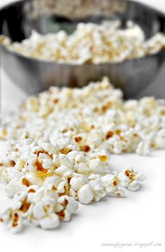 Homemade Stovetop Popcorn made with coconut oil