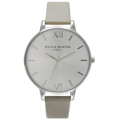 Olivia Burton Big Dial Watch - Grey & Silver (165 CAD) ❤ liked on Polyvore featuring jewelry, watches, silver jewellery, olivia burton, olivia burton watches, gray jewelry and gray watches