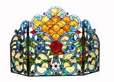 Roze Tiffany-glass Rose 3pcs Folding Fireplace Screen 44x28, As Shown