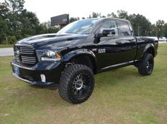Dodge Ram 1500 sport Dodge Trucks Lifted, Dodge Diesel Trucks, Lowered Trucks, Ram Trucks, Jeep Truck, Cool Trucks, Lifted Ram, Dodge Ram Sport, Black Truck