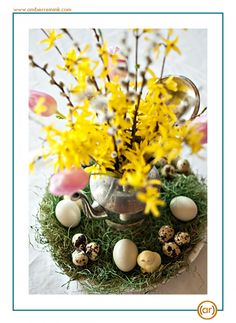 Forsythia Easter centerpiece