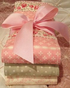 CHIC & ULTRA GIRLY Baby Girl Burp Cloth Set of 3 Boutique Style 6-ply Shabby Girly Pink Floral Polka Dot Fall Festive Baby Shower Gift. $17.45, via Etsy.