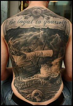 Be loyal to yourself quote full back piece tattoo