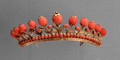 Italy or France, Tiara. Gold and coral, about 1817. Purchased with funds given by Rita Barbour Kern, 1996.27. H: 1 5/8 in.; L: 6 7/8 in.; W: 3 in., Gallery 34
