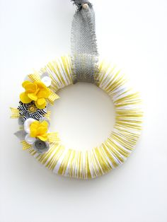 "yarn wreaths | 12"" Yellow yarn wreath with gray, white and yellow felt flowers - The ..."